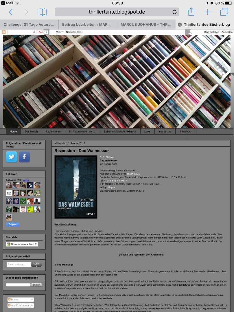 Challenge: 31 Tage Autorenwahnsinn, Tag 19 - Mein liebster Bücherblog: Thrillertantes Bücherblog
