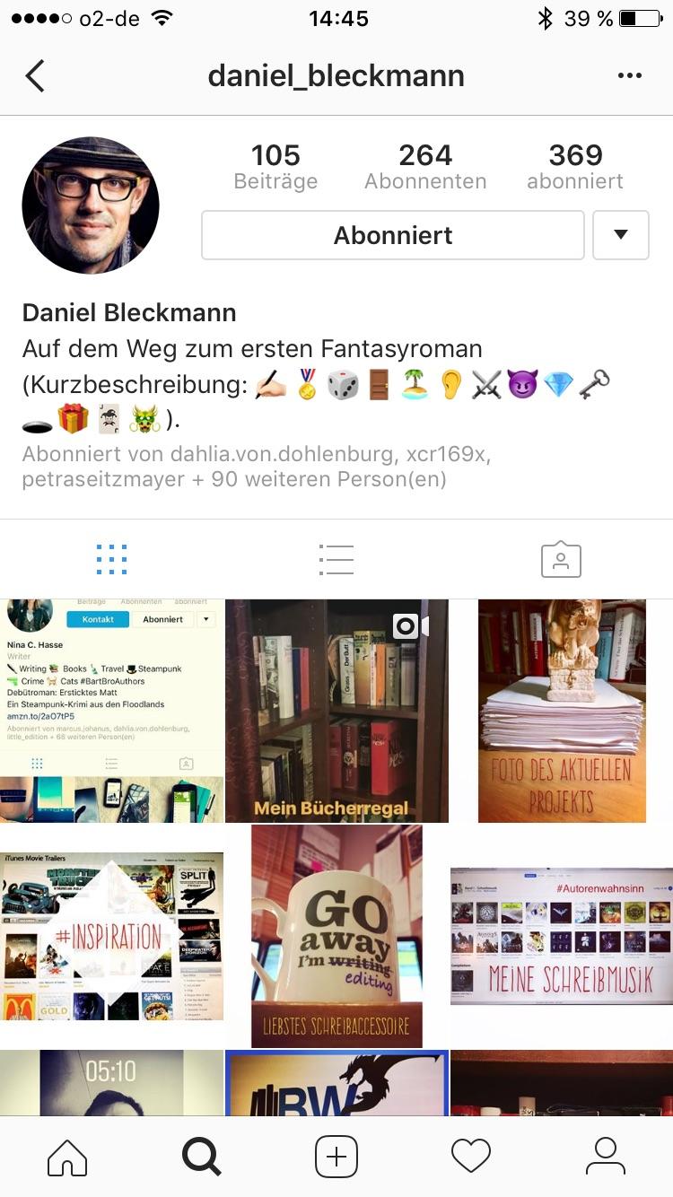 Challenge: 31 Tage Autorenwahnsinn, Tag 26 - Instagram-Account eines BFF-Autors